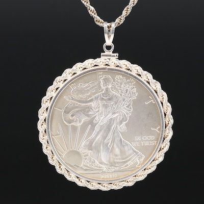 Sterling Bezel Necklace with 2019 American Eagle Bullion Coin Pendant