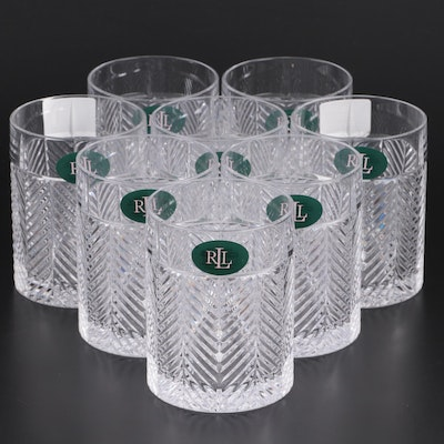"Ralph Lauren Crystal ""Herringbone"" Double Old Fashioned Glasses, 1993–2002"
