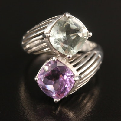 Sterling Silver Amethyst and Prasiolite Bypass Ring