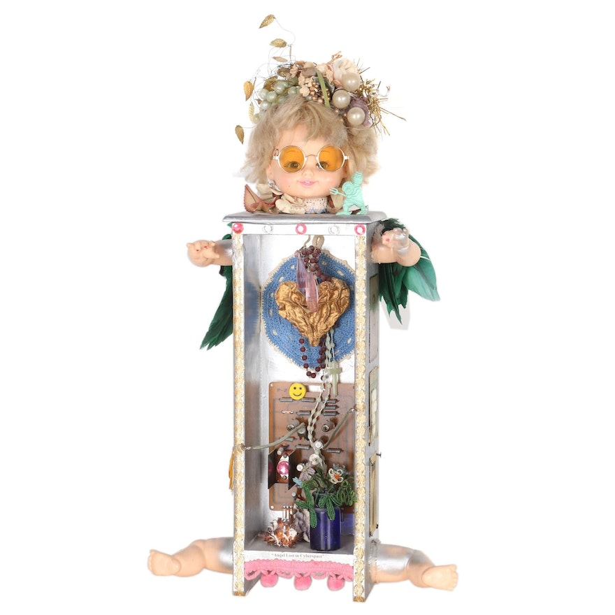"""Jacque Parsley Mixed Media Assemblage """"Angel Lost in Cyberspace"""", 1990"""