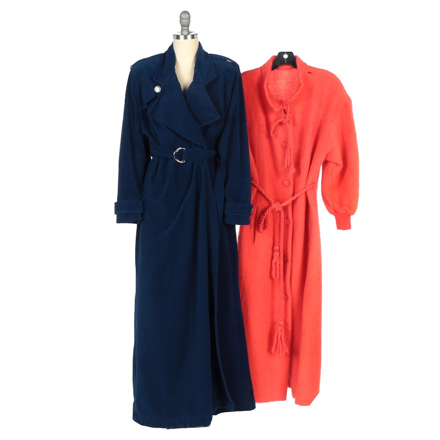 Vanity Fair Navy Blue Full-Length Coat with Coral Wool Full-Length Coat