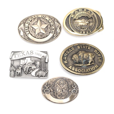 Texas and Kansas Commemorative and Limited Edition Brass Belt Buckles