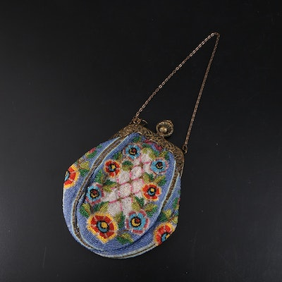 Beaded Floral Latticework Frame Purse with Scrolling Florals