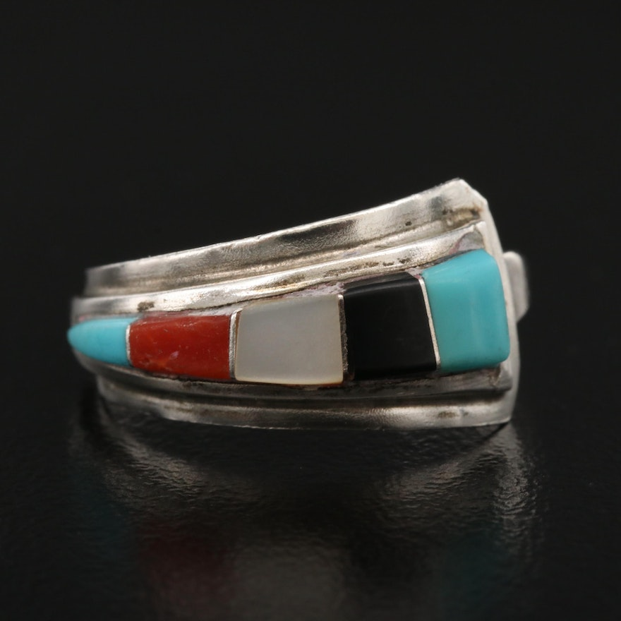 Southwestern Sterling Coral, Mother of Pearl and Turquoise Asymmetrical Band