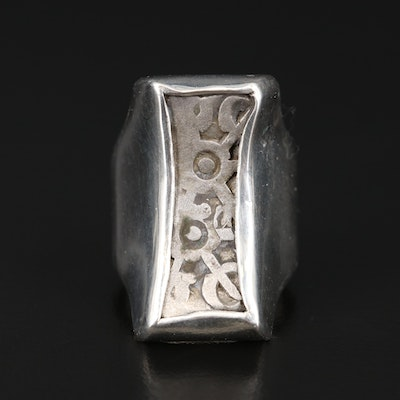 Sterling Ring with Ancient India, Ghandara Janapada Silver Bent Bar, ca. 300 B.C