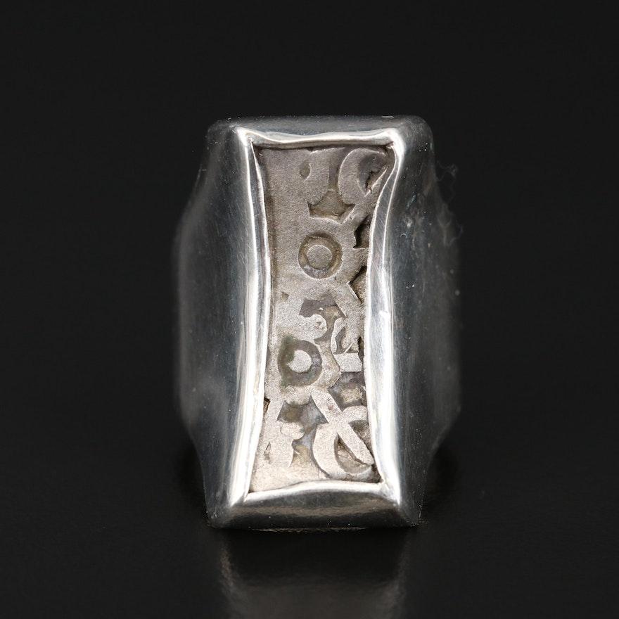 Sterling Ring with Ancient India, Ghandara Janapada Silver Bent Bar, ca. 300 B.C