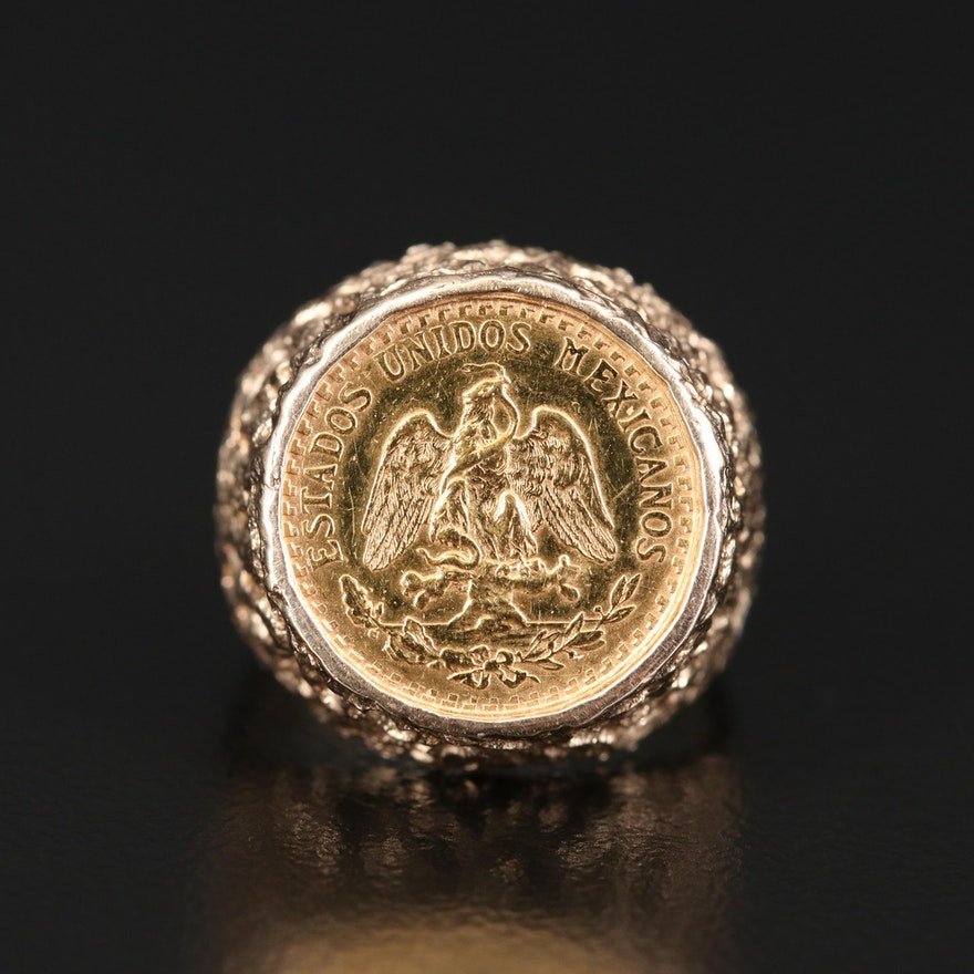 14K Ring with 22K 1945 Mexico 2-Pesos Gold Coin