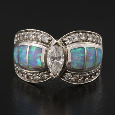 Sterling Silver Opal Doublet and Cubic Zirconia Ring