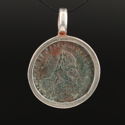 Sterling Bezel Pendant with Circa 324 A.D. Roman Imperial Coin of Constantine II