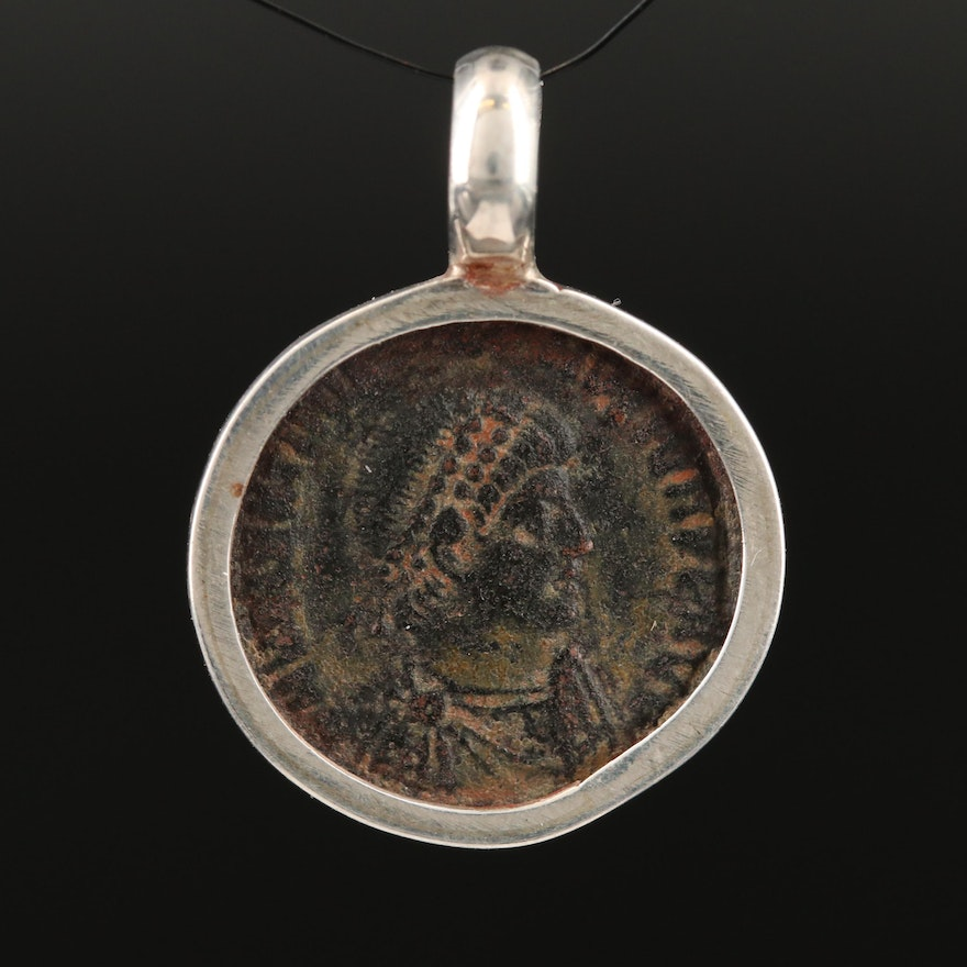 Sterling Bezel Pendant with Circa 378 A.D. Roman Imperial Coin of Valentinian II