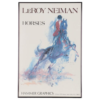 "Promotional Offset Lithograph Poster for ""Horses"" by LeRoy Neiman"
