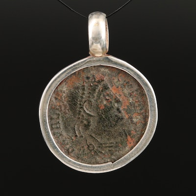 Sterling Pendant with Circa 364 A.D. Roman Imperial Coin of Valens
