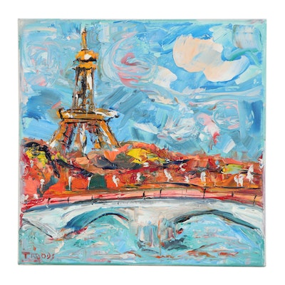 "Patricia Nolan-Brown Oil Painting ""Paris Eiffel Tower from the Seine,"" 2020"