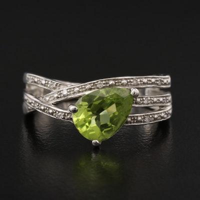 Sterling Silver Peridot and Diamond Asymmetrical Ring