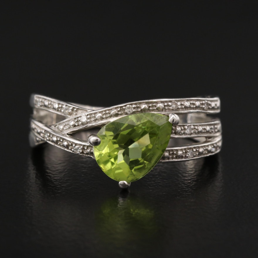 Sterling Silver Peridot and Diamond Asymmetrical Ring