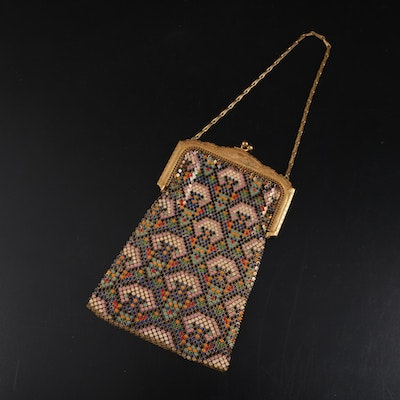 Whiting & Davis Art Deco Enamel on Metal Mesh Purse with Ornate Frame