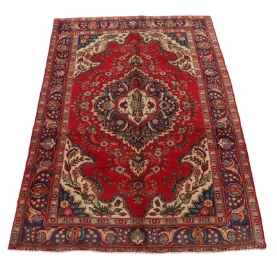 6'7 x 10' Hand-Knotted Persian Tabriz Area Rug