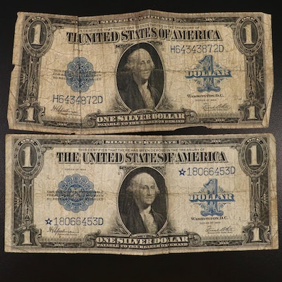 Large Format Series of 1923 Blue Seal Silver Certificates, Including Star Note