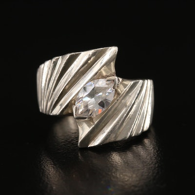 Sterling Silver Cubic Zirconia Textured Bypass Ring