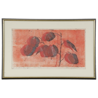 "Esther Shapiro Woodblock ""Chinese Money Plant,"" Mid to Late 20th Century"