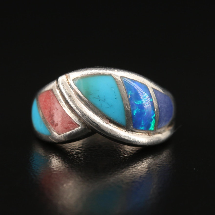 Sterling Silver Inlay Ring with Opal and Turquoise