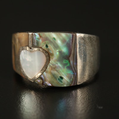Sterling Abalone and Mother of Pearl Inlay Ring
