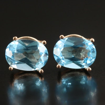 14K Oval Faceted Topaz Stud Earrings
