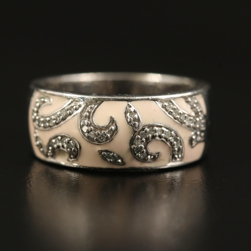 Sterling Diamond and Enamel Scroll Ring