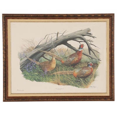 """Arthur Singer Offset Lithograph """"Ring-necked Pheasant,"""" Late 20th Century"""