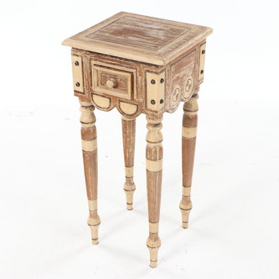 Artisan Contemporary Paint-Decorated Hardwood Side Table