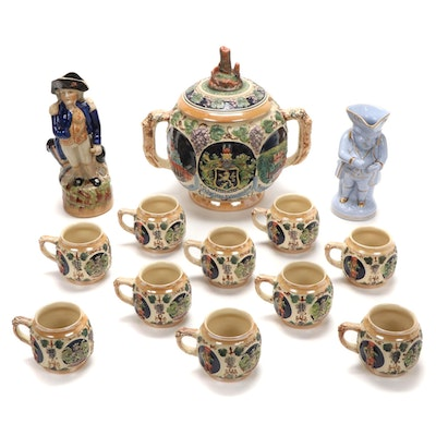 19th C. Staffordshire Admiral Lord Nelson and Other Jug with Gertz Punch Set