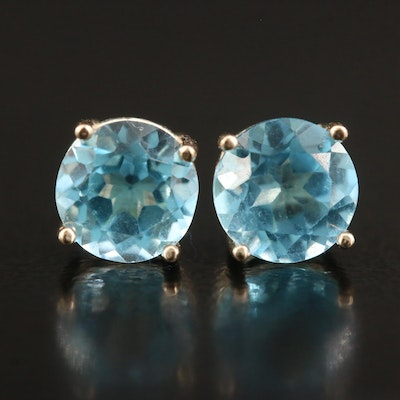 14K Round Faceted Topaz Stud Earrings