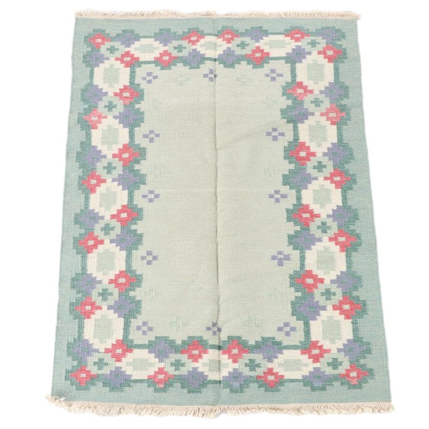 4'9 x 6'9 Handwoven Scandinavian Swedish Rollakan Wool Rug