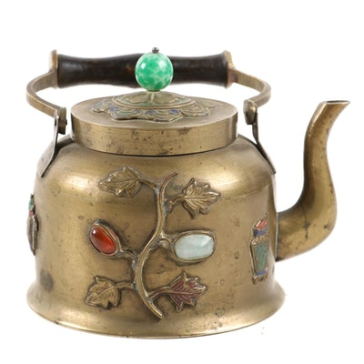 Chinese Brass Tea Kettle with Glass and Stone Cabochons, and Foliate Motif