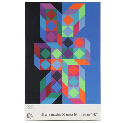 Serigraph Poster after Victor Vasarely for the Munich Olympic Games, 1972