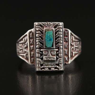 Sterling Silver Chrysocolla Pre-Columbian Themed Ring