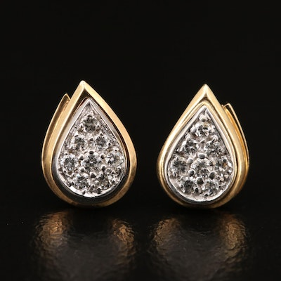 14K Diamond Teardrop Cluster Stud Earrings