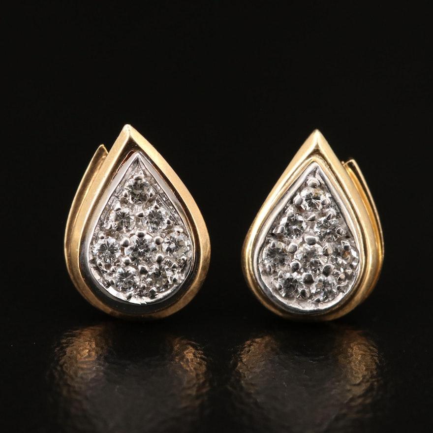 14K Diamond Teardrop Cluster Stud Earrings