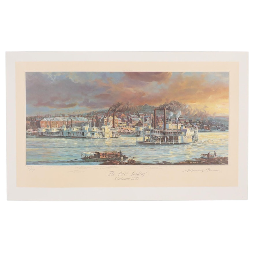 "Michael Blaser Offset Lithograph ""The Public Landing, Cincinnati, 1850"""