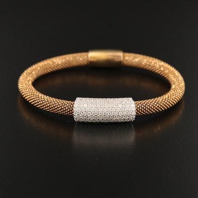 Sterling Cubic Zirconia Station Bead Bracelet