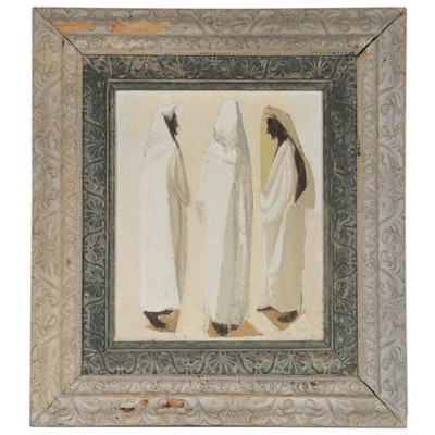 Carolyn Shine Oil Painting of Robed Figures, Mid to Late 20th Century