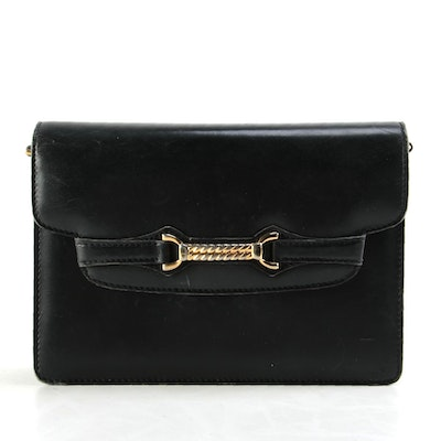 Gucci Horsebit Black Leather Shoulder Bag with Chain Strap