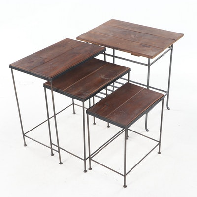 Set of Three Pine and Patinated Metal Nesting Tables Plus Side Table