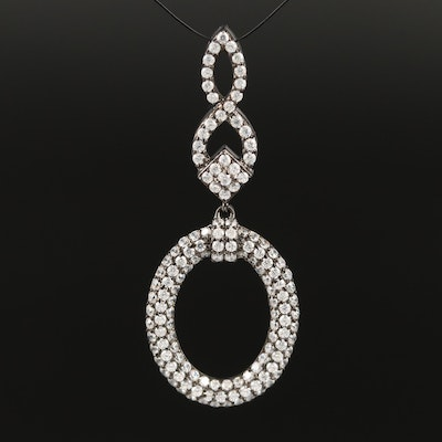 Sterling Cubic Zirconia Oval Pendant