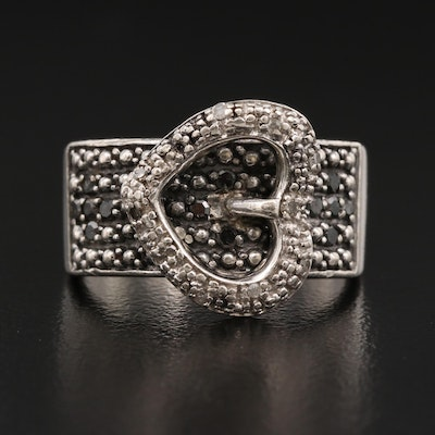 Sterling Silver Diamond Heart Buckle Ring
