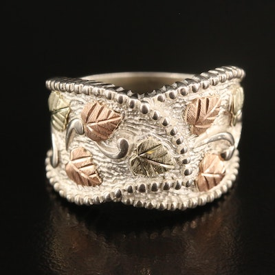 Coleman Co. Black Hills Gold Sterling Silver Foliate Ring with 12K Accents