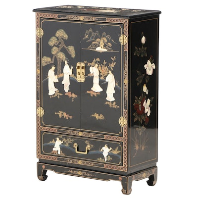 Chinese Lacquered and Paint-Decorated Cabinet with Mother-of-Pearl Inlay