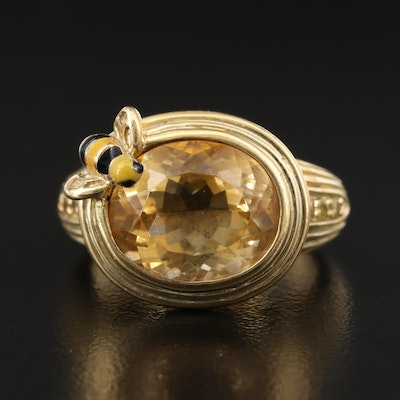 Sterling Silver Citrine and Yellow Sapphire Ring with Bee Accent