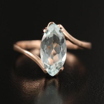 14K Aquamarine Bypass Ring