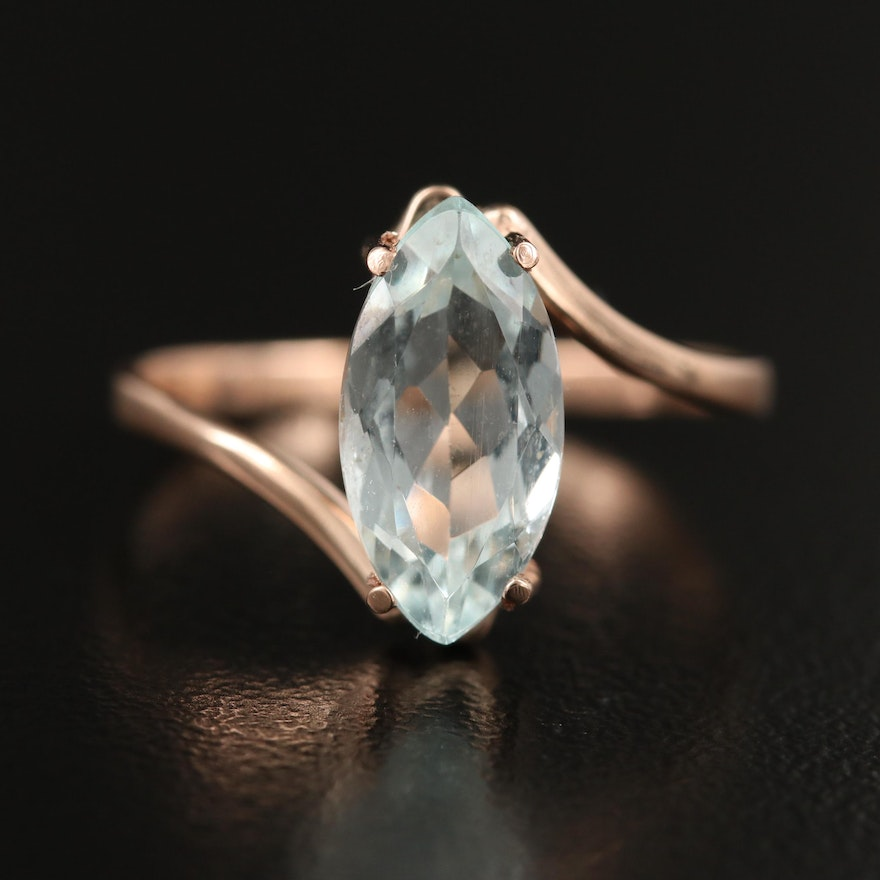 14K Aquamarine Bypass Ring